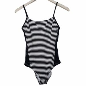 One piece swimsuit black white stripe Small